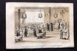 Miss Corner 1843 Antique Print. Annual Festival Celebrating the Emperor's Birthday